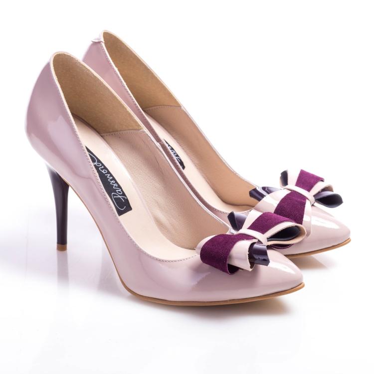 Pantofi stiletto cu fundă 2