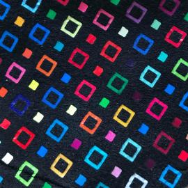 Negru cu romburi multicolore piele intoarsa