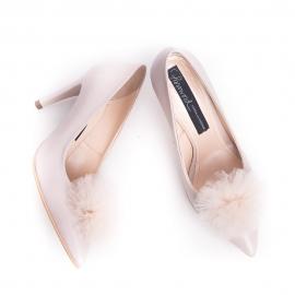 Pantofi stiletto cu pompon PUF 4